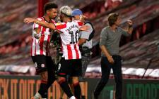 Brentford players celebrate a goal during their Championship playoff semifinal second leg match against Swansea City on 29 July 2020. Picture: @BrentfordFC/Twitter