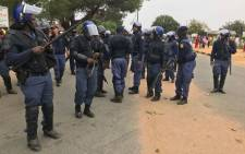 Police outside the Coligny magistrates court on 8 May 2017. Picture: Kgothatso Mogale/EWN