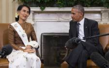 State Counsellor Aung San Suu Kyi of Burma speaks with US President Barack Obama during a bilateral meeting at the White House in Washington, DC, on 14 September, 2016. Picture: AFP.