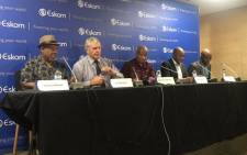 (From left to right) Eskom board chair and acting CEO Jabu Mabuza, Jan Oberholzer, Segomoco Scheppers, Bheki Nxumalo and Bernard Magoro at a briefing on the latest round of power cuts on 17 October 2019. Picture: Bonga Dlulane/EWN
