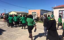 ANCWL arrives at the home of the man who was killed after he tried to save his girlfriend from being raped in Khayelitsha. Picture: Siyabonga Sesant/EWN