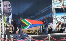 Joost van der Westhuizen's coffin draped in the national flag. Picture: Christa Eybers/EWN.