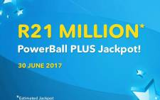 The estimated jackpot for the PowerBall Plus draw on 30 June 2017. Picture: @sa_lottery