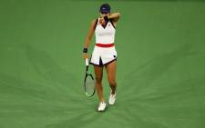 Emma Raducanu of Great Britain shows her dejection against Aliaksandra Sasnovich of Belarus on 8 October 2021 in Indian Wells, California. Picture: AFP