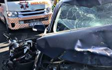 An image of the scene of a collision that claimed the lives of two people in Centurion on 13 October. Picture: @EMER_G_MED/Twitter.