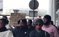 Cape Town residents took their silent protest against gender-based violence to the CTICC which is hosting the World Economic Forum Africa event on 4 September 2019. Picture: Kevin Brandt/EWN