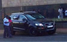 FILE: The Audi Q7 in which Sam Issa was shot and killed in Bedfordview on 12 October 2013. Picture: @MarkGander2/Twitter