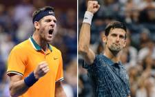 A combo picture of Juan Martin del Potro and Novak Djokovic. Picture: @usopen/Twitter.