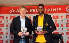 Kaizer Chiefs coach Stuart Baxter and defender Tefu Mashamaite were awarded PSL monthly awards on 21 November 2014. Picture: PSL.