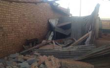 A shack was completely destroyed in the Khuma township near Klerksdorp after an earthquake hit the North West on 5 August. Picture: Govan Whittles/EWN.