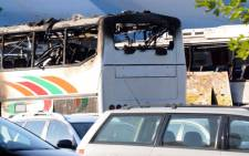 8 Israelis were killed after an airport bus was hit by a suicide bomber at Bourgas airport on July 18, 2012. Picture: AFP