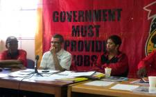 Cosatu's Tony Ehrenreich and members brief the media on plans to hold a march in the Cape Town CBD on 7 October. Picture: Siyabonga Sesant/EWN