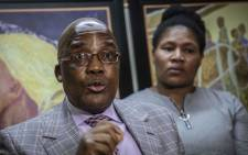 Home Affairs Minister Aaron Motsoaledi apologizes to marriage fraud victim Nomathamsanqa Swartbooi for what happened to her. 14 years ago, Swartbooi found out her ID was duplicated and was married to someone she never met. Picture: Abigail Javier/EWN