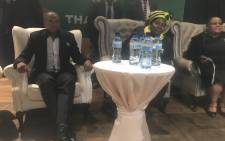 North West Premier Supra Mahumapelo and ANC presidential hopeful Nkosazana Dlamini Zuma at a Cadre's Forum in Klerksdorp. Picture: Clement Manyathela/EWN.