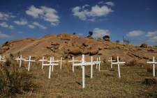 FILE: Crosses placed during 2012 for the 34 miners killed in the Marikana shooting. Picture: EPA.