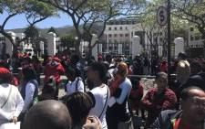 Cosatu officials and supporters have arrived at Parliament in a march against state capture. Picture: Kevin Brandt/EWN.