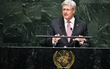 Canada's Prime Minister Stephen Harper addresses the 69th Session of the UN General Assembly at the United Nations in New York on 25 September, 2014. Picture: AFP.