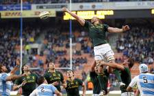 """Springbok lock Andries Bekker competes at the lineout during the first Rugby Championship match against Argentina in Cape Town on 18 August 2012. Picture: Aletta Gardner/EWN"