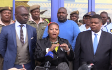 Minister of Defence Nosiviwe mapisa Nqakula accompanied by David Mahlobo and Malusi Gigaba briefed the media on the decision to deploy the military in volatile areas around the country. Picture : Kgothatso Mogale/EWN