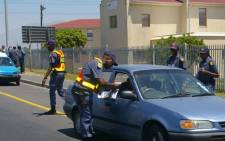 Police conduct a road block in Nyanga, Cape Town. Picture: @SAPoliceService/Twitter