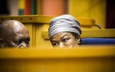 FILE:Deputy Speaker Solomon Lechesa Tsenoli and Speaker Baleka Mbete confer during the Presiding Officers Media Briefing before the Sona2015 debate. Picture: Thomas Holder/EWN.