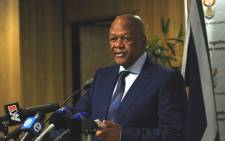 Justice Minister Jeff Radebe speaks at a briefing in Pretoria on Friday, 21 September 2012 about the probe into the shootings at Lonmin's Marikana mine. Picture: Werner Beukes/SAPA.