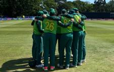 The Proteas huddle up during their ODI match against Ireland on 16 July 2021. Picture: @OfficialCSA/Twitter
