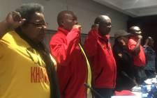 Cosatu joined the National Union of Mineworkers (NUM) during a rally against violence at the Lonmin Mine on 17 November 2019. Picture: @_cosatu/Twitter
