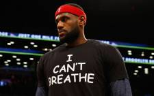 """LeBron James of the Cleveland Cavaliers wears an """"I Can't Breathe"""" shirt during warm-ups before his game against the Brooklyn Nets during their game at the Barclays Center on 8 December, 2014 in New York City. Picture: AFP."""