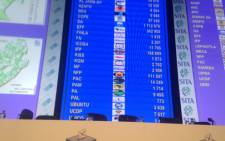 The results board at the IEC's national results centre in Pretoria keeps ticking over as results from around the country steadily flow in. Reinart Toerien/EWN.