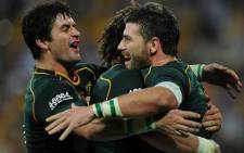 The Springboks celebrate after scoring a try in their historic win over the Wallabies.
