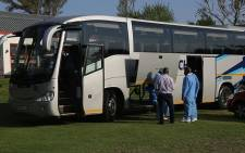The bus in which a group of Dutch tourists were travelling from OR Tambo International Airport when they were stopped and robbed.  Picture: Christa Eybers/EWN