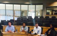 Management at media briefing over the protests at the University of Johannesburg. Picture: Dineo Bendile/EWN.