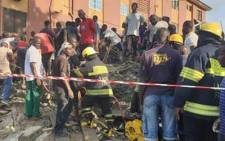 At least eight people died when a building collapsed in Lagos, Nigeria, on 12 October 2020. Picture: Twitter/@followlasema.