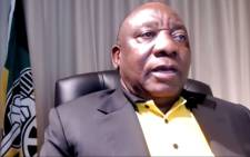 A screengrab of ANC President Cyril Ramaphosa delivering a virtual briefing following a three-day NEC meeting.
