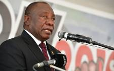 FILE: President Cyril Ramaphosa addresses the crowd at the official Freedom Day celebrations on 27 April 2019 in Makhanda. Picture: @presidencyZA/Twitter
