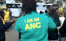 An ANC marcher sings and dances. Picture: Gia Nicolaides