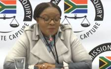 A screengrab of former Director-General of the Department of Justice and Constitutional Development Nonkululeko Sindane appearing at the Zondo Commission on 3 July 2019.