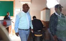 Julius Malema leaves the police station after laying charges against the police, in connection with the deadly Marikana mine shooting. Picture: Taurai Maduna/EWN.
