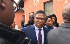 Police Minister Fikile Mbalula visited the home of slain warrant officer Sipho Mthethwa in Vosloorus. Picture: Katleho Sekhotho/EWN.