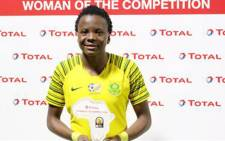 Banyana Banyana's Thembi Kgatlana with her Women's Africa Cup of Nations player of the tournament award. Picture: @CAF_Online/Twitter