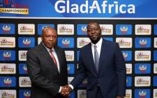 PSL chairman Irvin Khoza (L) with GladAfrica chairman Noel Mashaba on 1 August 2019. Picture: @OfficialPSL/Twitter.