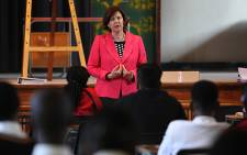 Gauteng Education MEC Barbara Creecy speaks to Grade 12 learners at Forest Hill high school, before they began writing their first matric exam. Picture: Taurai Maduna/EWN