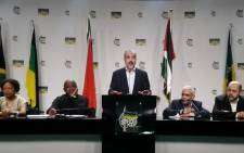 FILE: Hamas leader Khaled Meshal addresses a media briefing at ANCs Luthuli House on 19 October 2015. Picture: Kathrada Foundation.