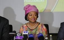 National Assembly Speaker Baleka Mbete addresses the media at OR Tambo International Airport on her return home from Bangladesh.  Picture: Christa Eybers/EWN