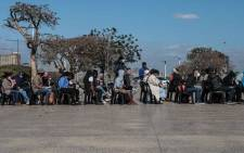 People line up at the People's Park Cafe next to the Moses Mabhida Stadium in Durban for their COVID-19 vaccinations on 23 July 2021. Picture: Abigail Javier/Eyewitness News