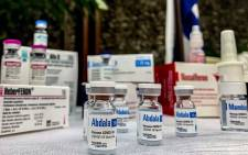 View of vials of the Cuban Abdala vaccine candidate during a press conference of the Biotechnological and Pharmaceutical Industries of Cuba (BioCubaFarma) in Havana, on March 19, 2021. Picture: Katell Abiven / AFP.