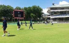 Cobras players warmup ahead of their Four-Day Domestic Series match against the Warriors at Newlands Cricket Ground. Picture: @CobrasCricket/Twitter