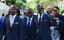 Finance Minister Malusi Gigaba and his team arriving at Parliament to deliver his 2018 budget speech at the National Assembly, Cape Town. Picture: GCIS