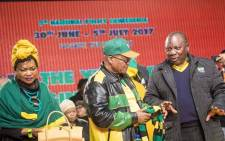 National Assembly Speaker Baleka Mbete, President Jacob Zuma and Deputy President Cyril Ramaphosa at the ANC national policy conference at Nasrec on 30 June 2017. Picture: Thomas Holder/EWN.